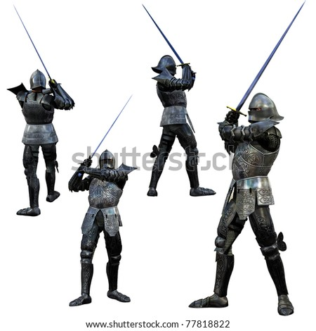 Stock Photo: Knight Swordsman in Full Armour, 3D render in multiple views