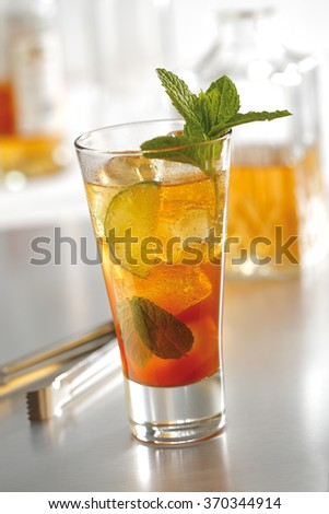 Stock photo of a mojito fidel cocktail made with lime, sugar, mint leaves, rum and beer