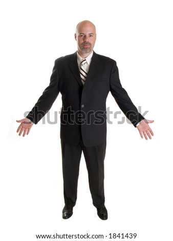 Stock photo of a well dressed businessman facing forward and holding his arms out in a friendly gesture, full length, isolated white. - stock photo