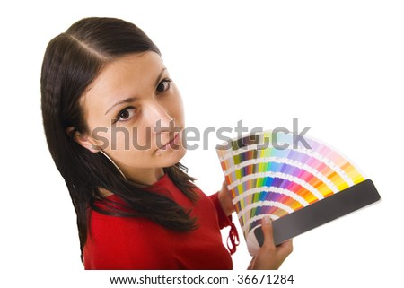 Stock photo of a young woman holding color guide - stock photo