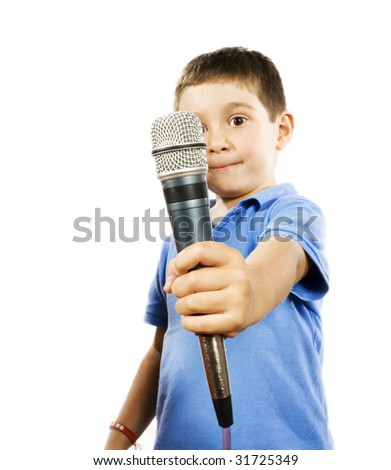 Stock photo of boy holding microphone, isolated on white - stock photo