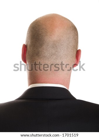 Stock photo of the back side of a businessman's head, isolated on white.