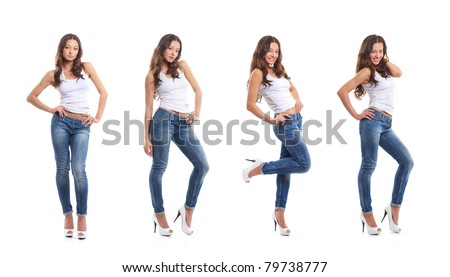Stock photo of young, fit and sexy woman in jeans and white top isolated on white - stock photo