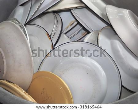 Stock Photo : Old tableware, Used dinnerware - stock photo