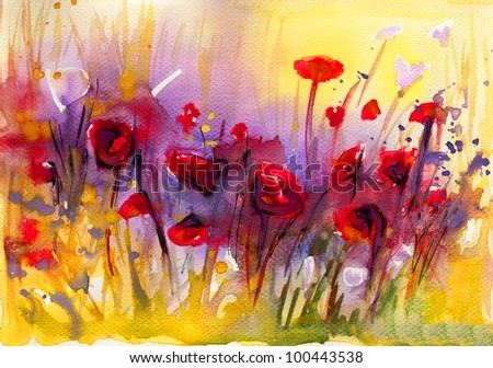 Stock Photo: poppies, flowers, - stock photo