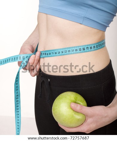 stock photo woman measuring her waistline, middle part
