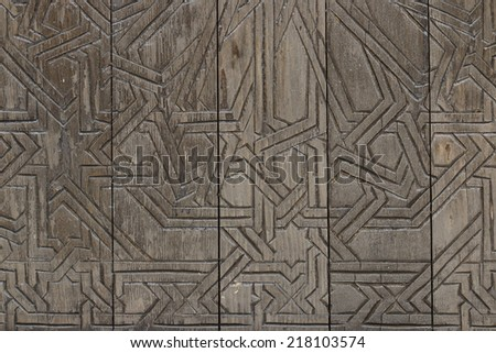 stock photo /  wood pattern and geometry  on wood tile / older door - stock photo