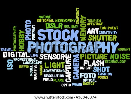 Stock Photography, word cloud concept on black background. - stock photo