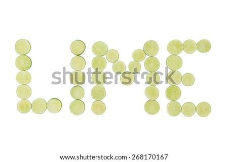 Stock picture of sliced green lime, forming the word lime, on a white background