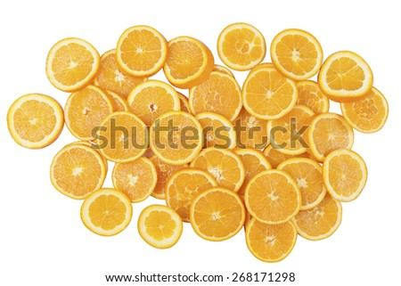 Stock picture of sliced orange in a pile, on a white background - stock photo