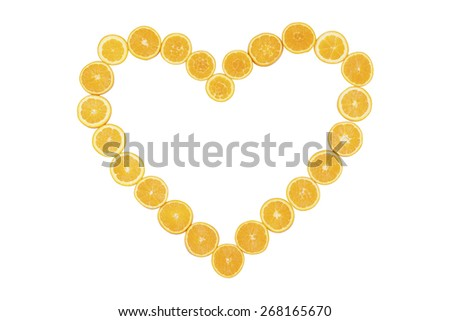 Stock picture of sliced oranges, forming a heart, on a white background - stock photo