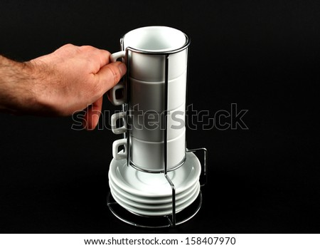 Stock pictures of coffee cups stacked for storage and usage - stock photo