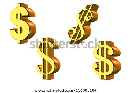 Stock symbols 3D the American dollar, gold-colored. Isolated on white background