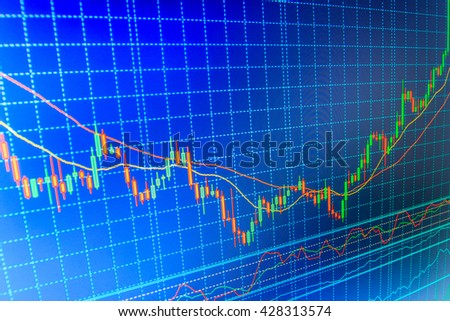 Stock trade live. Conceptual view of the foreign exchange market. Stock market quotes on display. Stock diagram on the screen. Stock analyzing. Stock exchange graph. Price chart bars.
