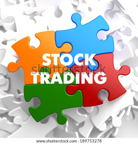 Stock Trading on Multicolor Puzzle on White Background. - stock photo