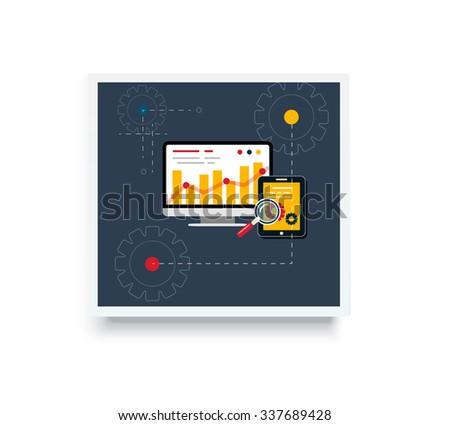 Stock trading poster flat style. Employment achievement business, diagram wealth, finance dollar, trader report marketing analyzing. Trade, stock market, stock exchange, stock broker. Raster version - stock photo