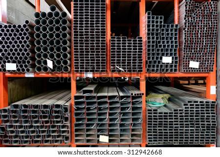 stock warehouse many kind of steel tube - stock photo
