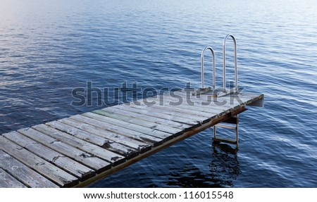 Stockholm archipelago - empty bathing platform - stock photo