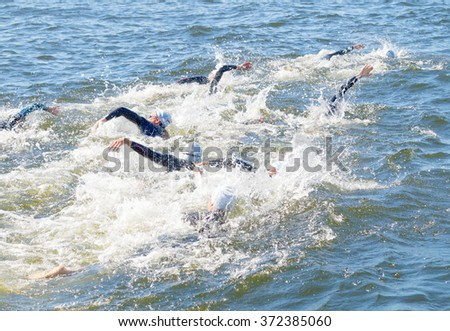 STOCKHOLM - AUG 22, 2015: Chaos of swimming arms in the water in the Women's ITU World Triathlon series event August 22, 2015 in Stockholm, Sweden