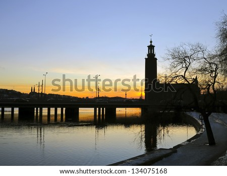 Stockholm City Hall at sunset - stock photo