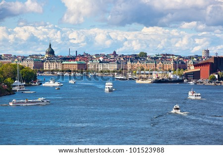 Stockholm cityscape view from sea. - stock photo