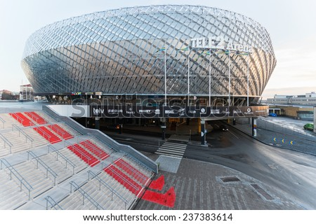 STOCKHOLM, DEC 13: Sideview of the Tele2 arena in Stockholm. December 13, 2014 in Stockholm, Sweden. Multipurpose stadium located in Johanneshov, south of Stockholm.   - stock photo