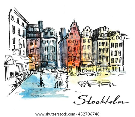 Stockholm. Hand drawn sketch on colorful watercolor background. - stock photo