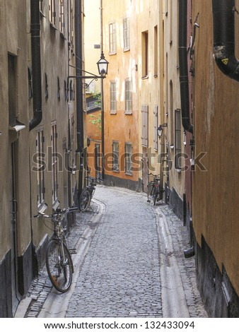 stockholm in sweden old town street - stock photo