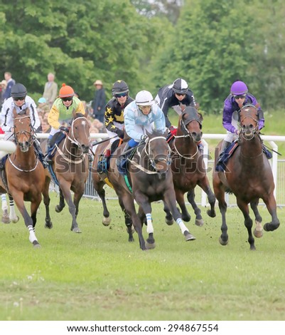 STOCKHOLM - JUNE 06: Tough race between the race horses in a curve at the Nationaldags Galoppen at Gardet. June 6, 2015 in Stockholm - stock photo