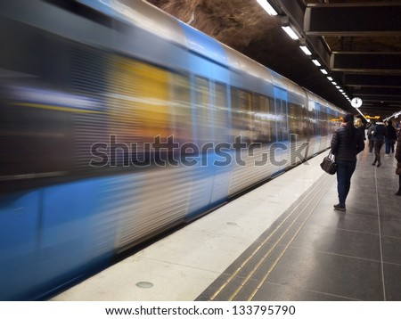 Stockholm Metro Train Station - stock photo