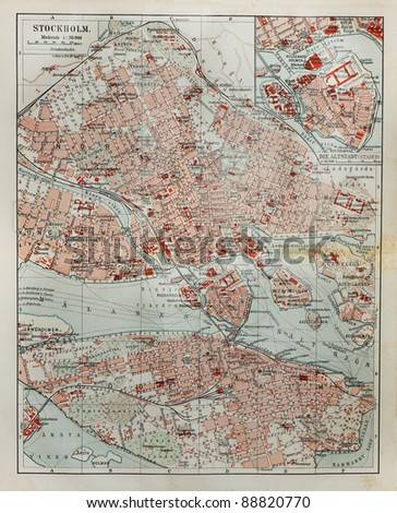 Stockholm old map from the end of 19th century. Picture from the original Meyer Lexicon book (written in German language) edition 1908. - stock photo