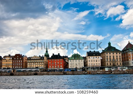 Stockholm panoramic view of the old city. Sweden.