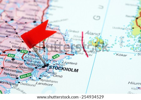 Stockholm pinned on map europe stock photo royalty free 254934529 stockholm pinned on a map of europe publicscrutiny Image collections