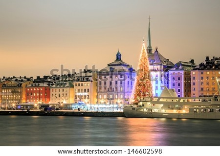 Stockholm Skyline Cityscape at Night Sweden in Christmas - stock photo