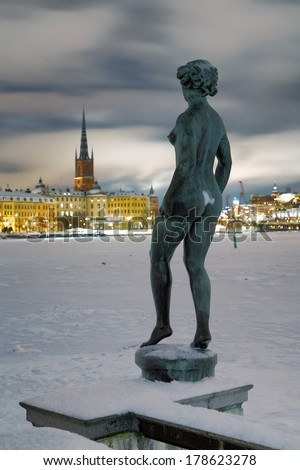Stockholm, Statue at the embankment near the City Hall on the background of the Riddarholmen island, Sweden