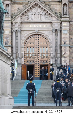 StOCKHOLM, SWEDEN - APRIL 29, 2016: Celebration of Carl XVI Gustaf of Sweden on his 70ths birthday with the Royal guards.