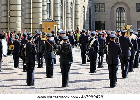 STOCKHOLM, SWEDEN - APRIL 14, 2013: Performance of the Swedish Royal Military Orchestra
