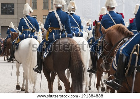STOCKHOLM, SWEDEN - APRIL 30: Public festivities at H.M. King Carl XVI Gustaf 68th birthday at Stockholm Palace, Sweden. The King's birthday is celebrated at the Royal Palace of Stockholm, Sweden.  - stock photo