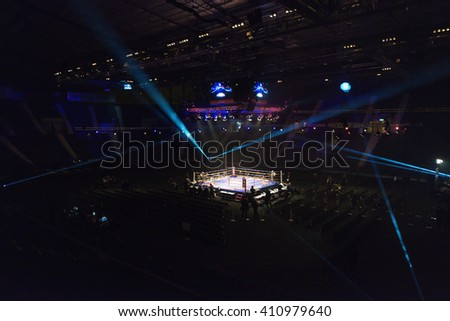 STOCKHOLM, SWEDEN - APRIL 23, 2016: The Hovet arena with the ringside in bright lights during the Nordic Fight Night - stock photo