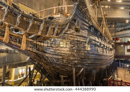 Stockholm, Sweden - April 01, 2016: The Vasa Museum  is a maritime museum in Stockholm, Sweden. The museum displays the only almost fully intact 17th century ship in the world