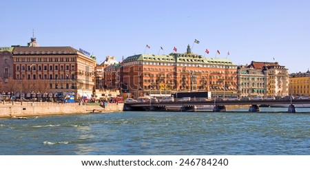 STOCKHOLM, SWEDEN - APRIL 14, 2010: View of the center of the city with Grand Hotel. On the left side is Svenska Handelsbanken AB main building  - stock photo