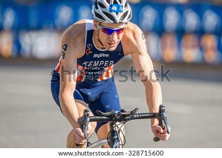 STOCKHOLM, SWEDEN - AUG 22, 2015: Closeup of Hunter Kemper from USA at the Men's ITU World Triathlon series event - stock photo