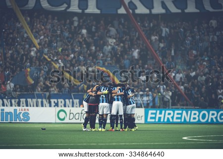 STOCKHOLM, SWEDEN - AUG 24, 2015: Peptalk before the soccer game between the rivals Djurgarden and Hammarby at Tele2 arena. - stock photo