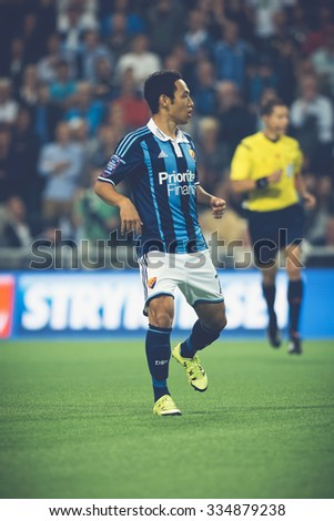 STOCKHOLM, SWEDEN - AUG 24, 2015: Soo Yong Yoon (DIF) at the soccer game the between rivals Djurgarden and Hammarby at Tele2 arena.