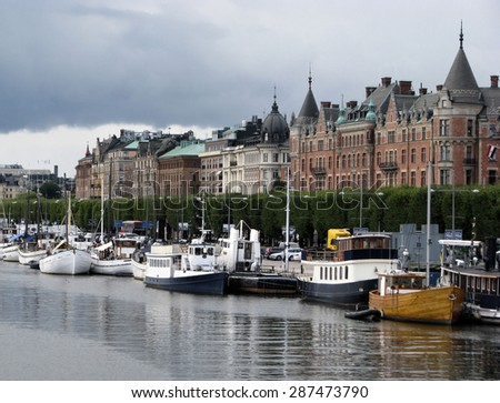 STOCKHOLM, SWEDEN - AUGUST 30: Panorama of shoreline of old city on Augsut 30, 2011 in Stockholm, Sweden - stock photo