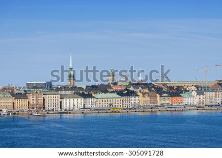 STOCKHOLM, SWEDEN - AUGUST 10, 2015: View over Stockholm old town during a warm and clear summer day.