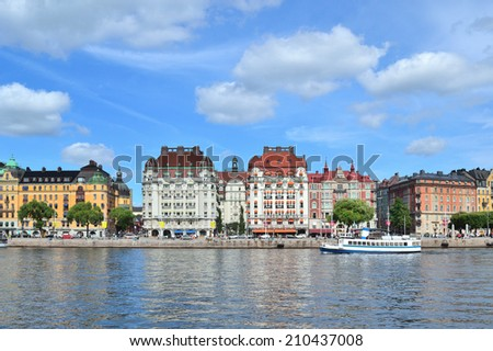 Stockholm, Sweden. Beautiful quay Strandvagen in a sunny summer day