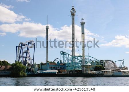 STOCKHOLM, SWEDEN - CIRCA AUGUST 2015: Grona Lund amusement park on Djurgarden Island in central Stockholm (Sweden) - stock photo