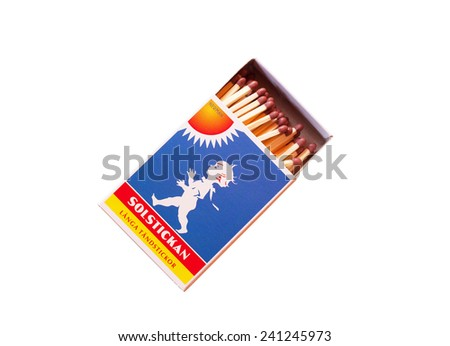 STOCKHOLM, SWEDEN, December 19, 2014. An open matchbox. White background and Swedish text