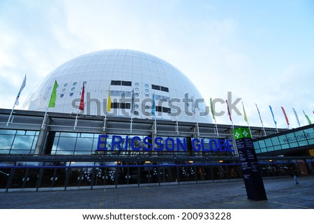 STOCKHOLM, SWEDEN - DECEMBER 15, 2011: Architectural detail of the Ericsson Globe, the national indoor arena of Sweden - stock photo
